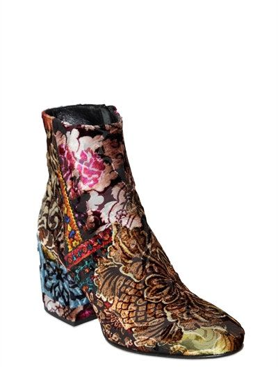 STRATEGIA - 70MM BROCADE VELVET ANKLE BOOTS - MULTICOLOR