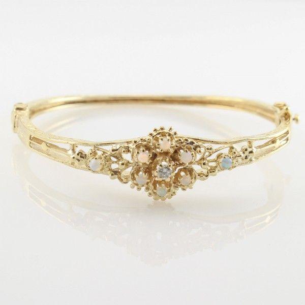 Vintage-Style-Bangle-Bracelet-with-Opals-1-Diamond-14kt-Yellow-Gold-141466143580