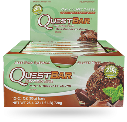 Love at first bite! Irresistible mint and decadent chocolate finally meet in the latest protein-packed Quest Bar! 20g of protein, this double-dose of deliciousness is a #CheatClean delight!