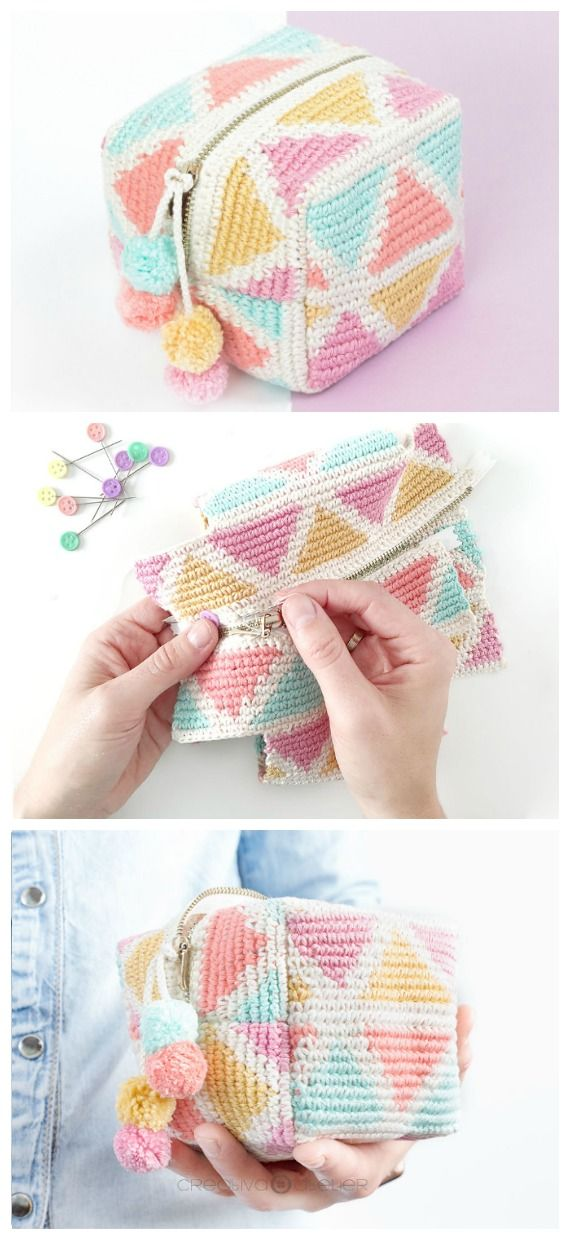 Square Makeup Pouch Crochet Free Patterns - Crochet & Knitting