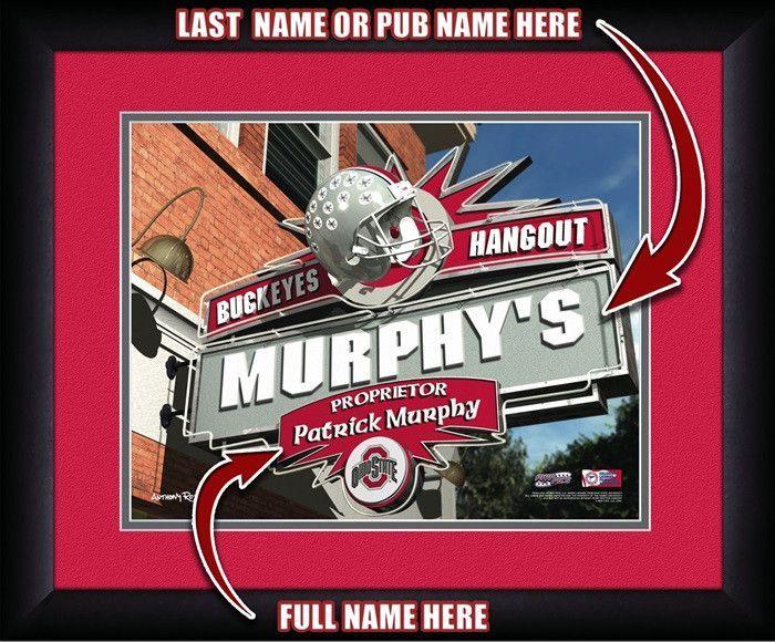 Ohio State Buckeyes Personalized Pub Print Ohio state