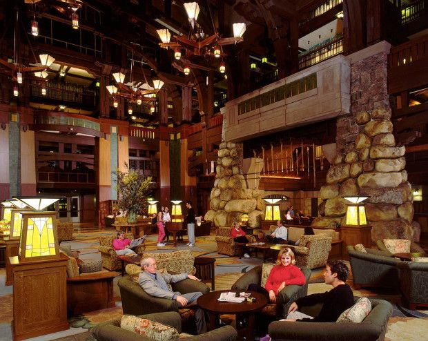GRAND LOBBY -- Capturing the spirit of early California through inspiring design and daring architecture, Disney's Grand Californian Hotel and Spa is a deluxe resort hotel property, offering a premium option for business or pleasure visits to the Disneyland Resort. This AAA Four-Diamond hotel is the first Disney resort hotel in the world to be located inside a theme park-Disney's California Adventure Park-making stays at the deluxe hotel a uniquely themed experience.