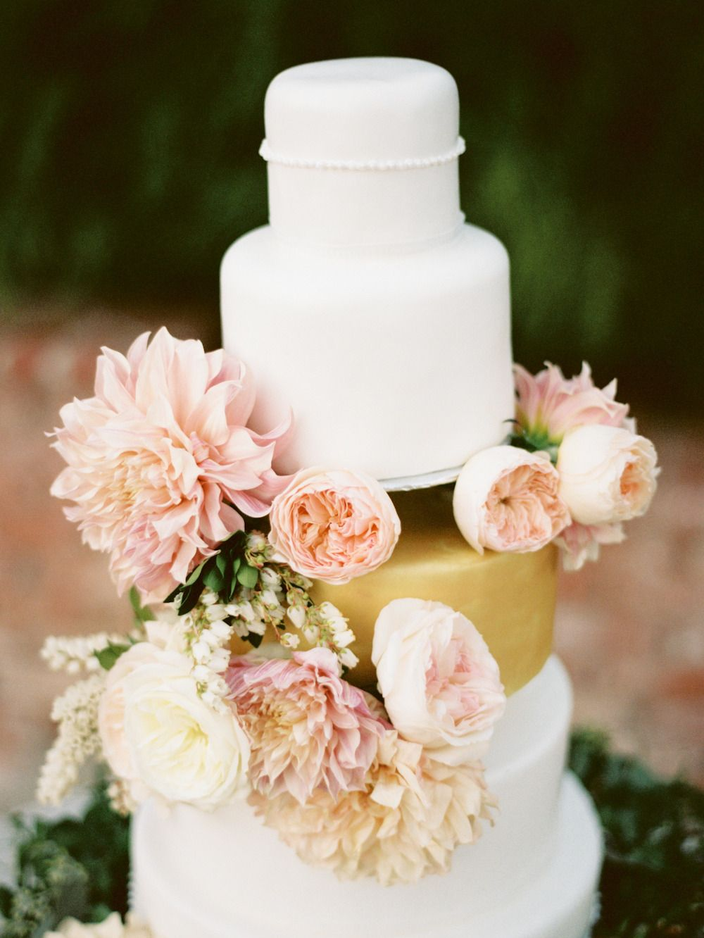 Wedding Cake - One layer of Gold... really different! | See more of the wedding on Style Me Pretty: http://www.StyleMePretty.com/2014/02/26/elegant-del-mar-garden-wedding/ Photography: Ashley Kelemen