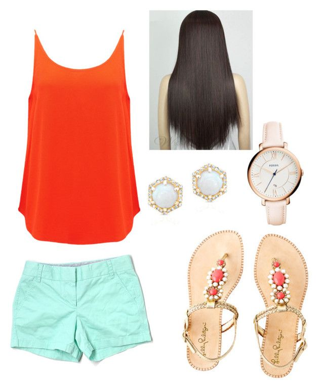 """""""Going shopping today!! """" by blueminnie7 ❤ liked on Polyvore featuring BA&SH, J.Crew, Lilly Pulitzer and FOSSIL"""