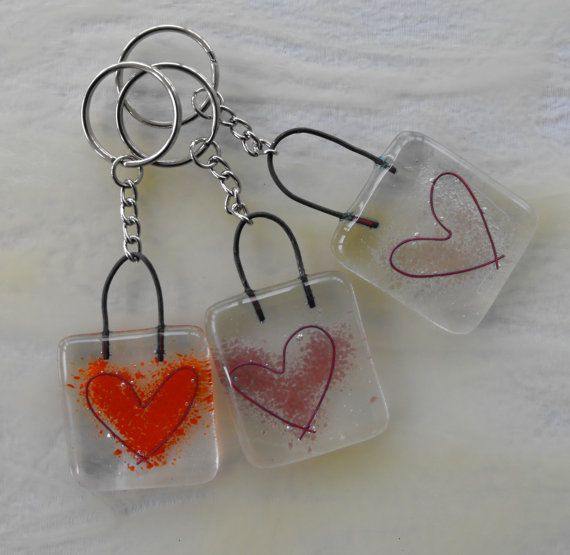 Fused Glass Heart Key Ring