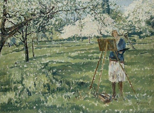 Melitta in the garden  - Max Clarenbach  German, 1880-1952  Oil on canvas, 71 x 96.5 cm. (28 x 38 in.)