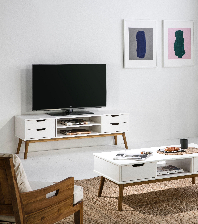 idee agencement piece de vie blanche epuree meuble tele blanc design graphique a pieds en bois de couleur naturelle table decor flat screen electronic products