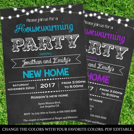Chalkboard Housewarming Invitations  Printable Housewarming