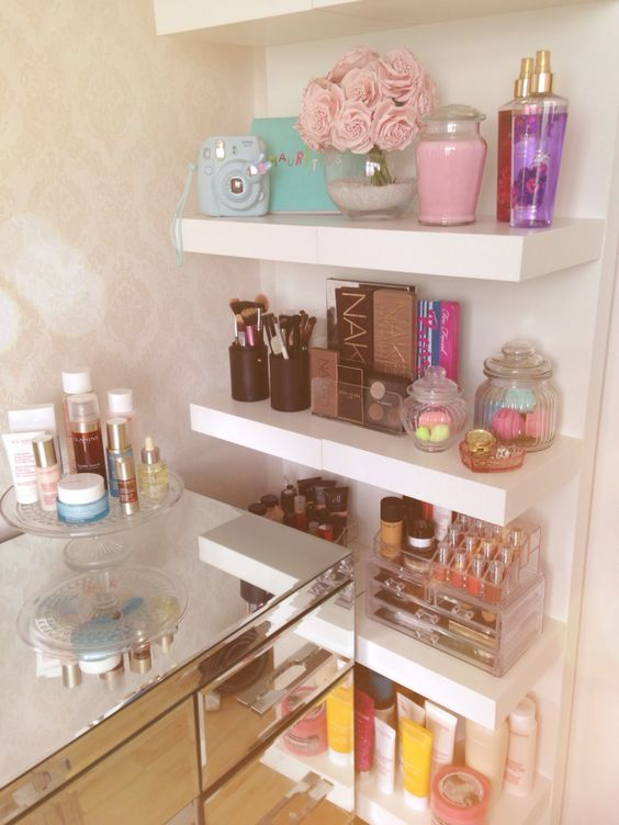 Floating Shelves Or Open Shelving To Keep The Space Open Make Up Storage Beauty Room Glam Room