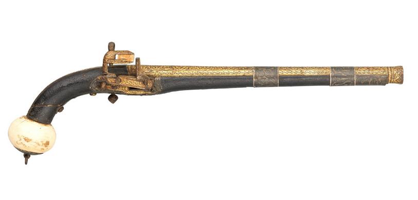 Pistola Caucàsica amb pany Miquelet amb decoracions d'ivori. Datada a inicis del segle XIX. http://www.peashooter85.com/image/96026601338