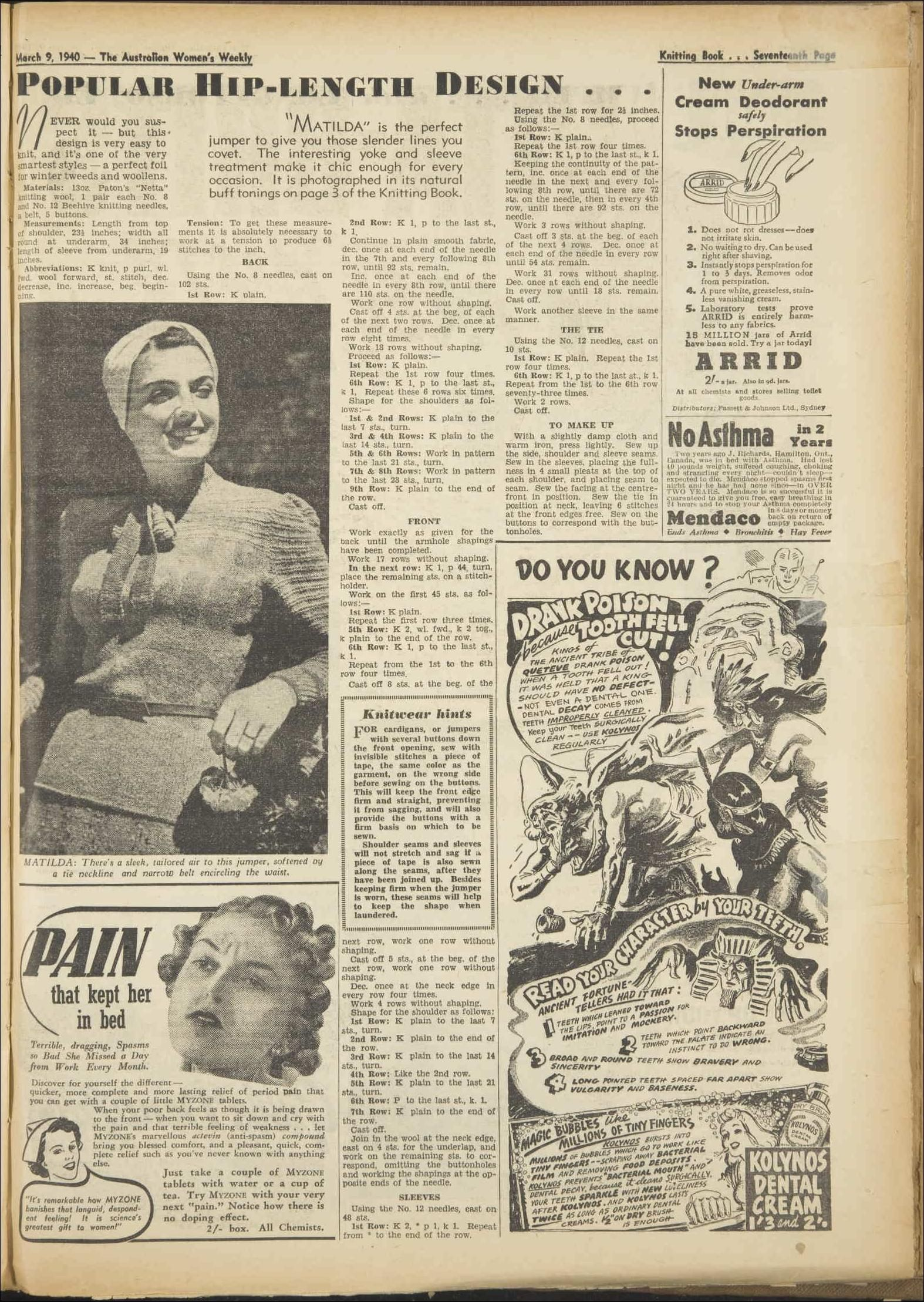 Issue: 9 Mar 1940 - The Australian Women\'s Week... | старинные кофты ...