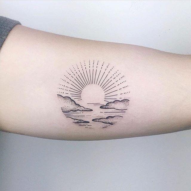 Quejlaverga Tatuaje De La Apuesta De Sol Inyectarnos Tinta