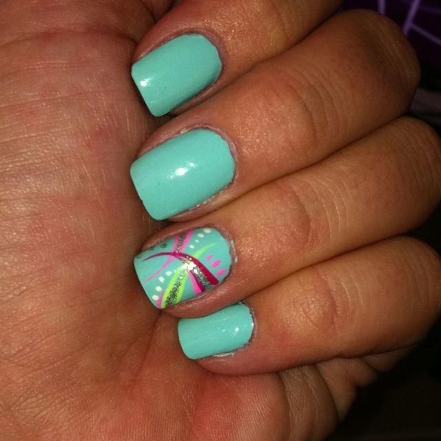 seafoam green nail polish. springy