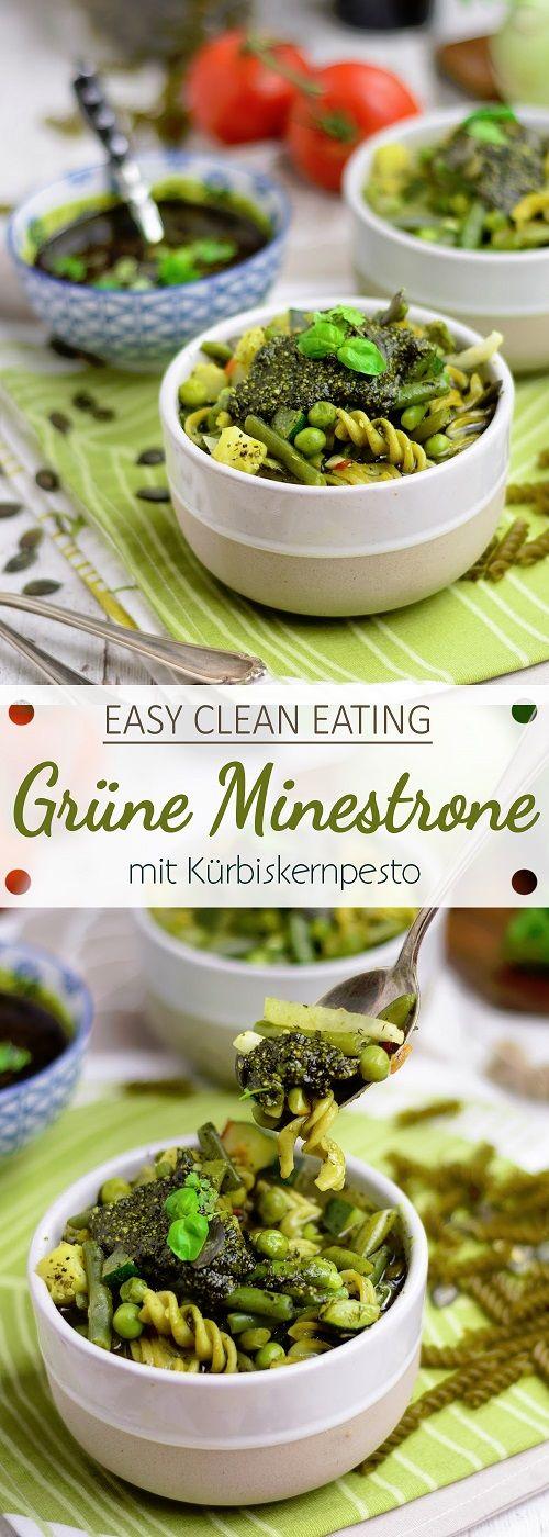 Clean Eating: Grüne Minestrone mit Erbsen Spirelli und Kürbiskernpesto
