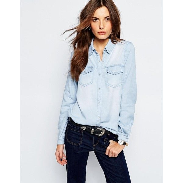 Vila Light Washed Denim Shirt (435 NOK) ❤ liked on Polyvore featuring tops, light blue denim, regular fit shirt, light blue shirt, light blue top, denim shirt and blue denim shirt
