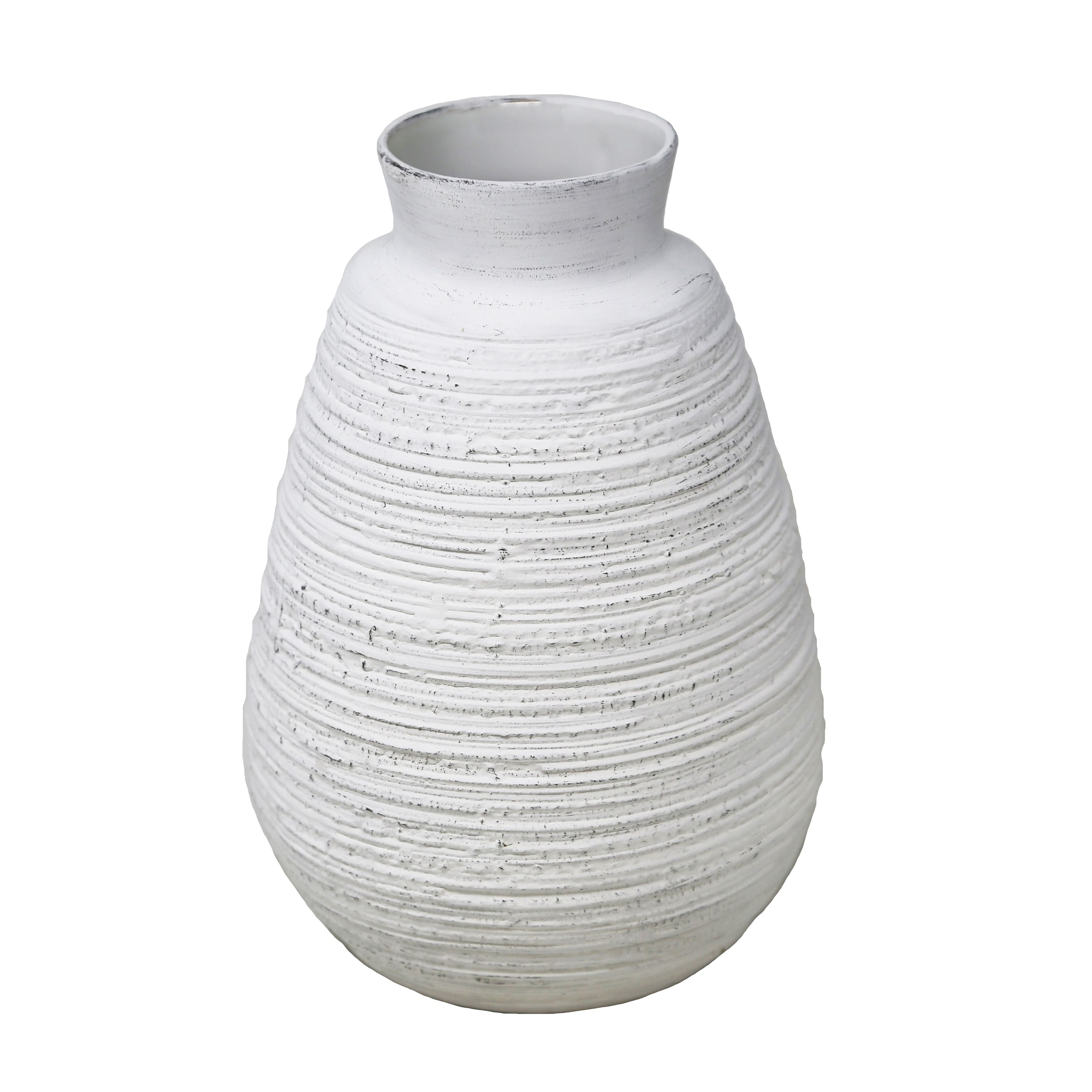Ceramic Wire Brushed Texture Vase With Wide Open Mouth And Round