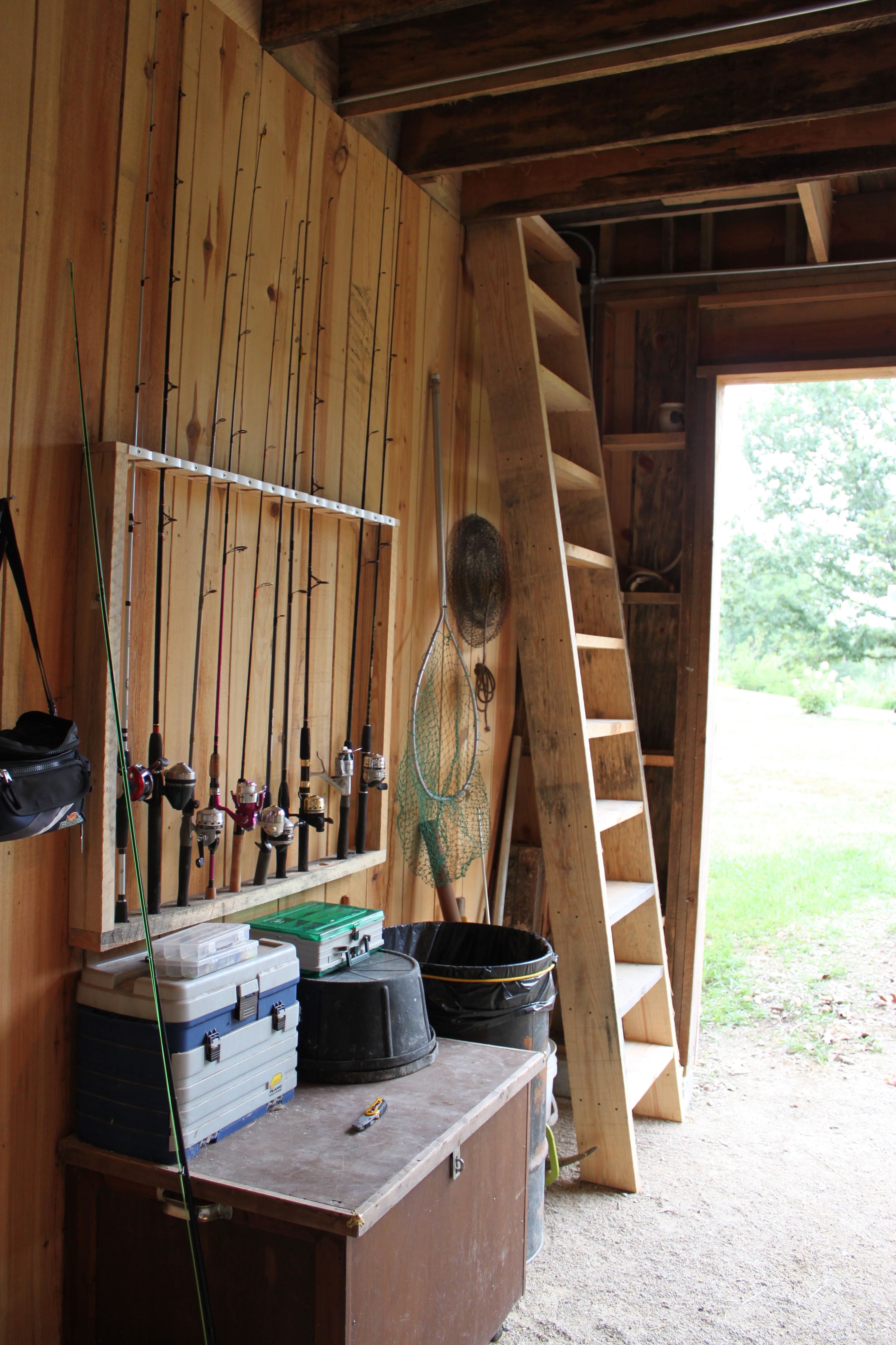 fishing pole rack and scuttle hole ladder
