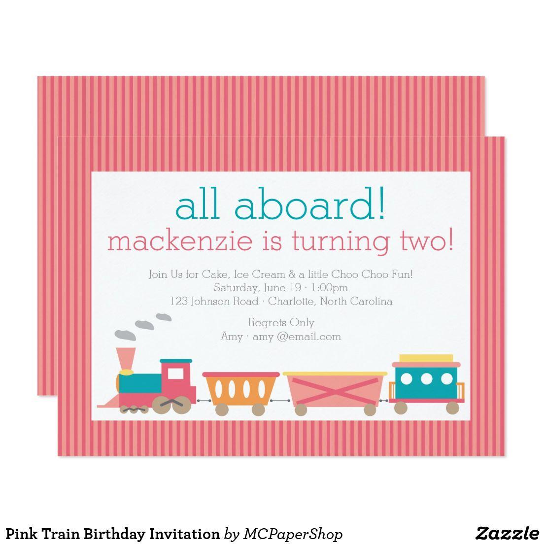 Pink Train Birthday Invitation | { Happy Birthday - Invitations and ...
