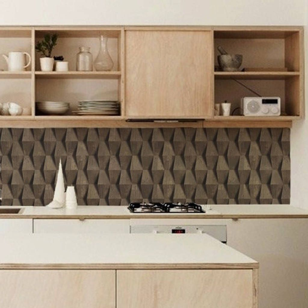Grey Oak Kitchen Walls Backsplash Wallpaper Gray kitchen
