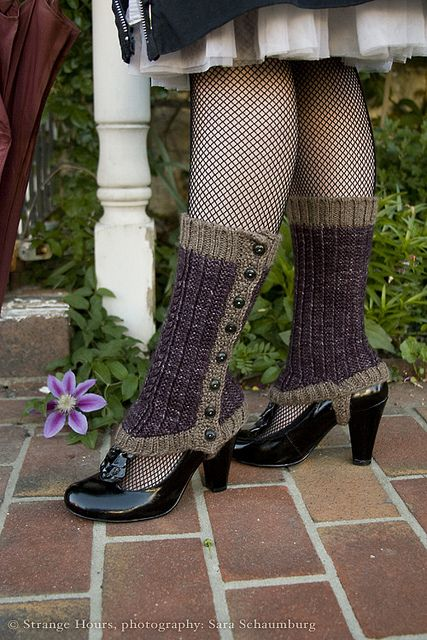 YES!! knitted spats I could make these - just learned how to do a button hole today!