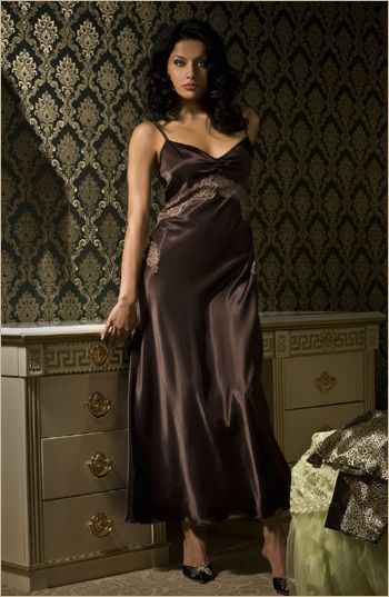 2109196fe8 Brown Satin Nightgown and Black High Heels