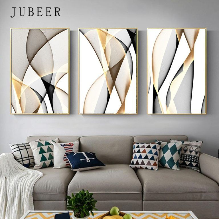 Abstract Canvas Painting Line Wall Art Decorative Picture For Living Room Nordic Decoration Home Abstract Painting Poster In 2021 Living Room Art Prints Wall Art Living Room Wall Canvas