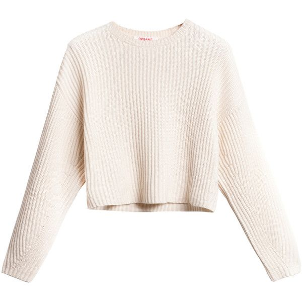 Rib Crop Pullover New White ($480) ❤ liked on Polyvore featuring ...