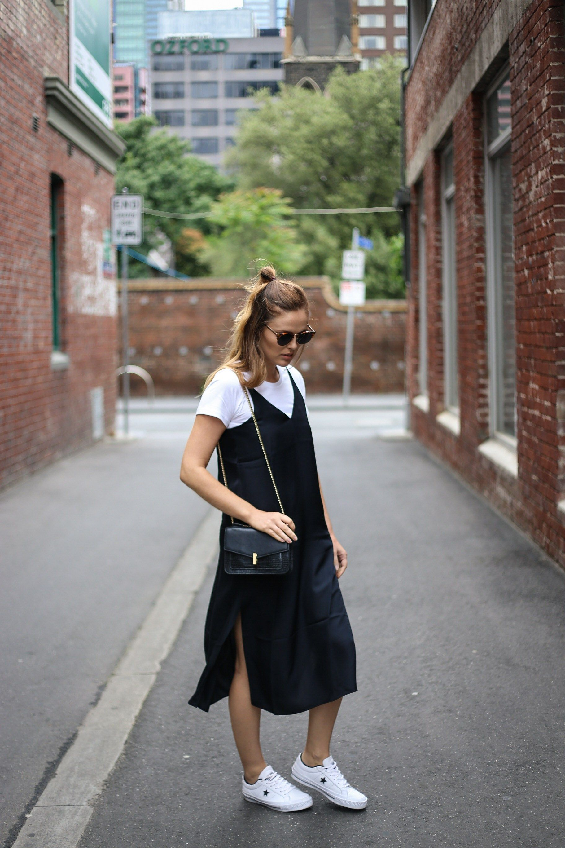 sneakers   Slip dress outfit
