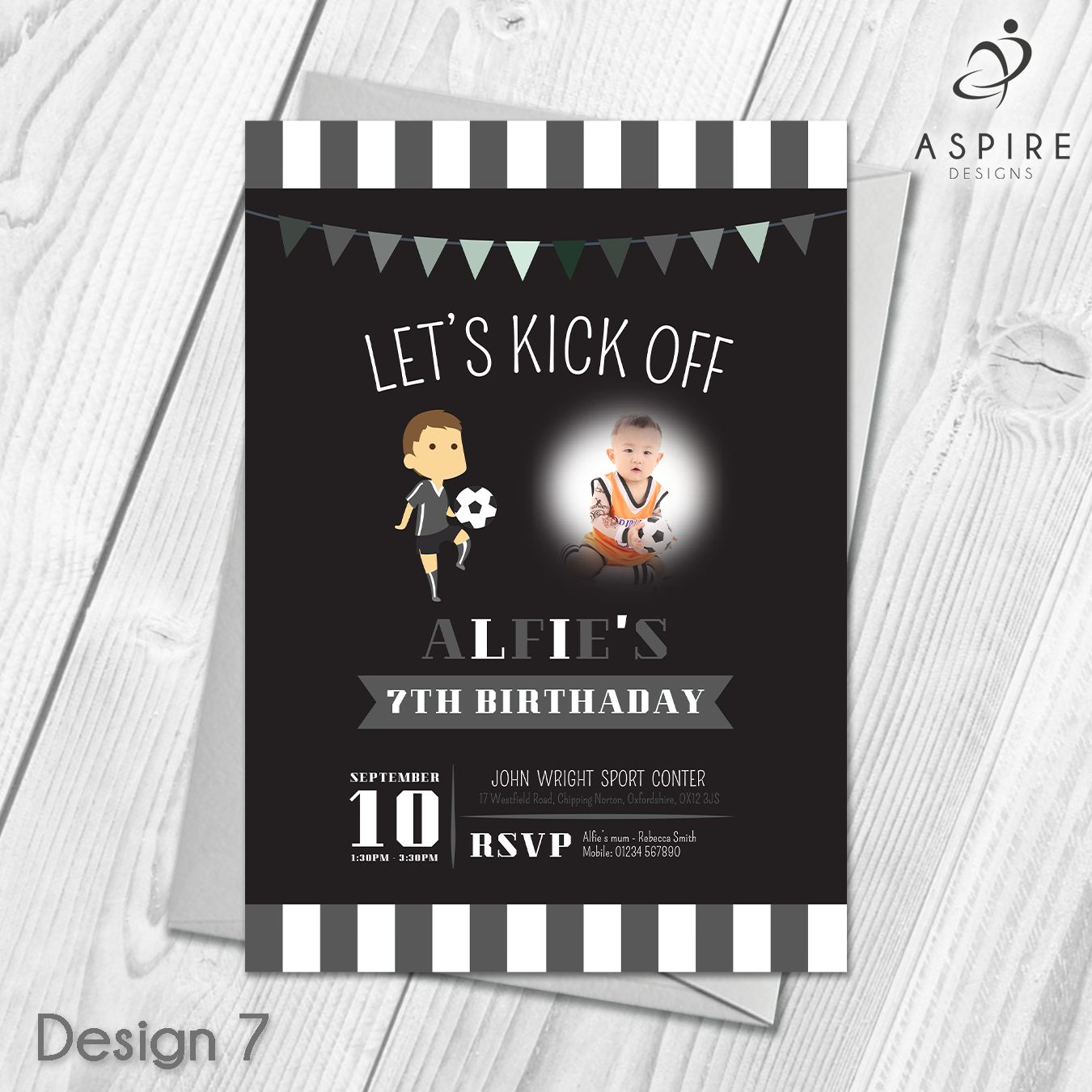 Personalised Children\'s Football Birthday Party Invitations & Envelopes