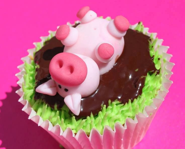 This pig rolling in mud Cake Cup cakes and Decorating