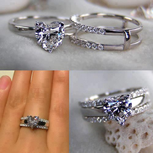 Engagement Bands That Fit Together Bing Images O Don T Like The Heart Shape But The Way They Fit Heart Wedding Rings Wedding Rings Engagement Wedding Rings