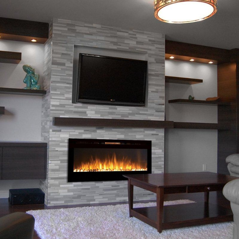 18 chic and modern tv wall mount ideas for living room - Modern fireplace living room design ...