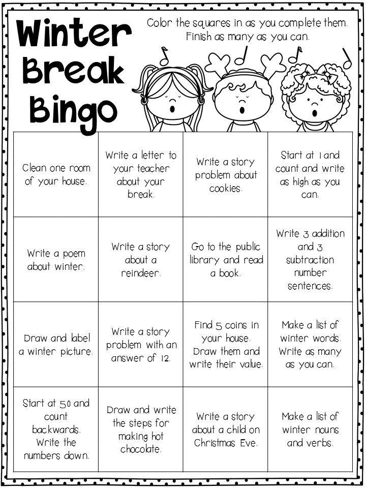 winter break homework primary teaching resources and ideas homework bingo school holidays. Black Bedroom Furniture Sets. Home Design Ideas