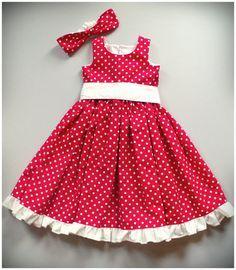 72b26305b76 SALE Red   White Polka Dot Girls Dress by SewCreationsBoutique ...