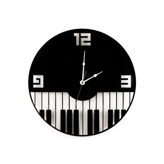 Large Wall Clock Laser Cut Acrylic Piano Keys Music Clock Black