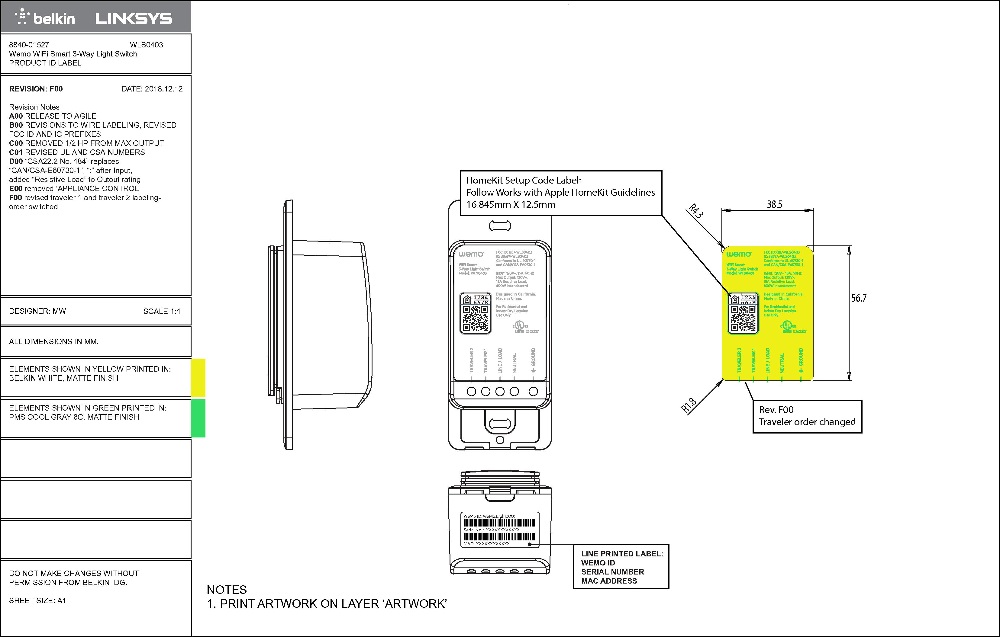 Csco Linksys Llc Wifi Smart 3 Way Light Switch Wls