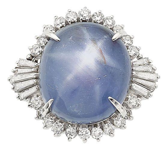 Estate Jewelry:Rings, Star Sapphire, Diamond, Platinum Ring. ...