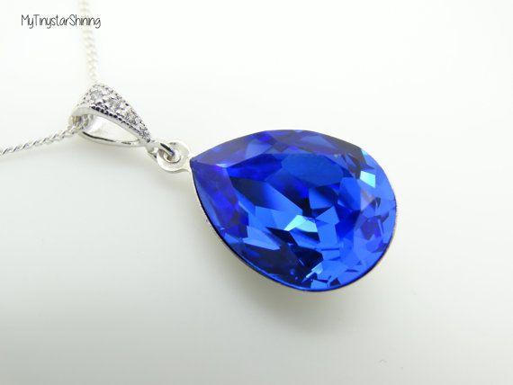 Blue Sapphire Necklace Teardrop Blue Necklace By Mytinystarshining Blue Sapphire Necklace Blue Necklace Wedding Sapphire Necklace