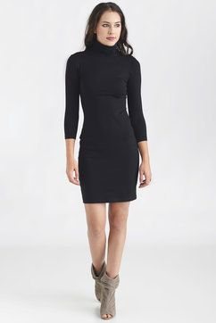 Susana Monaco Mock Neck Dress in BLACK