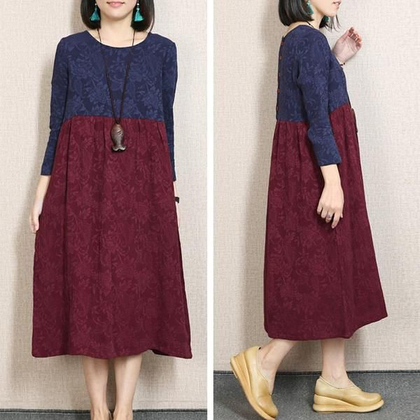 a859c4496 Retro Printing Splicing Loose Navy Blue Dress - Buykud ...