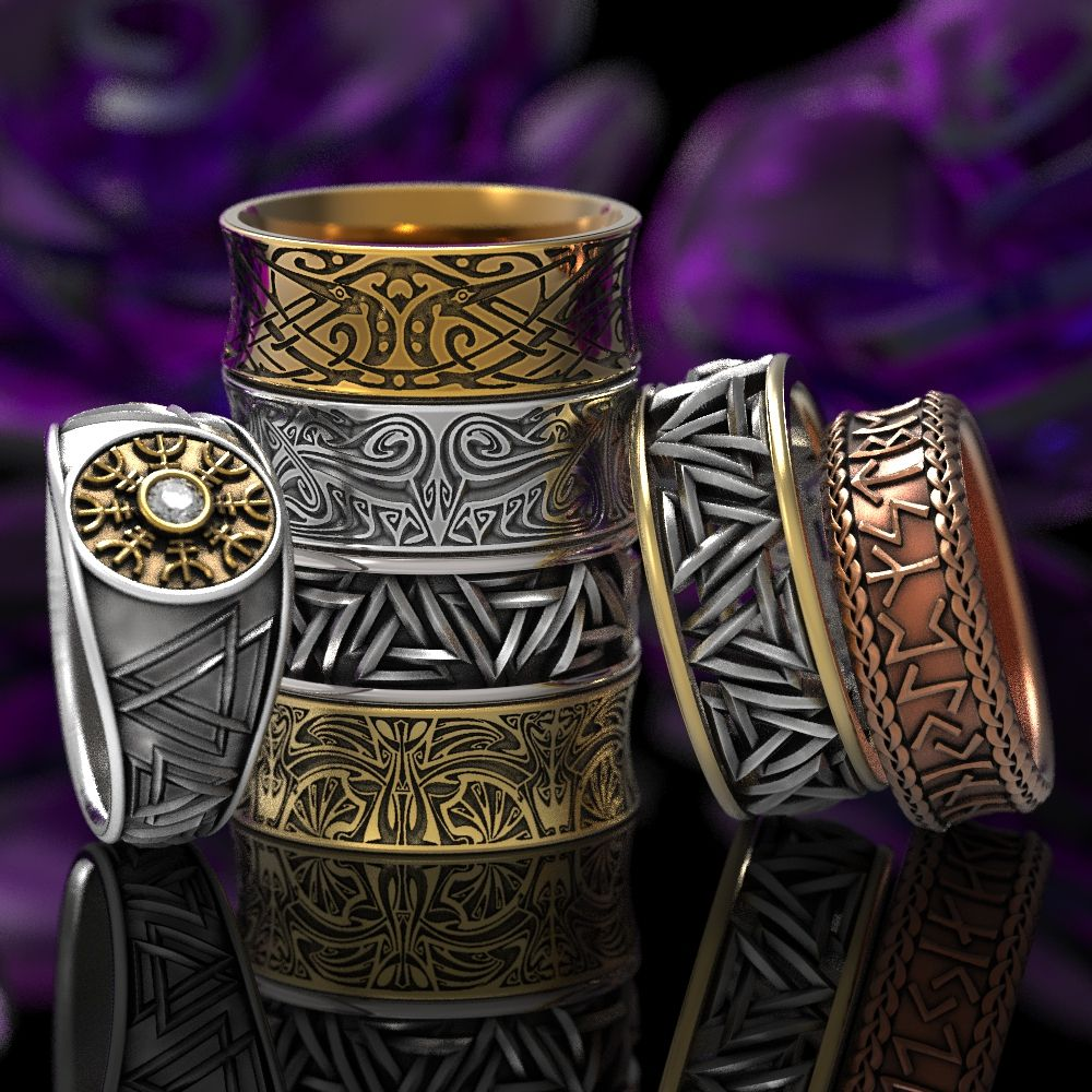 View our section of Viking rings, mens wedding bands and