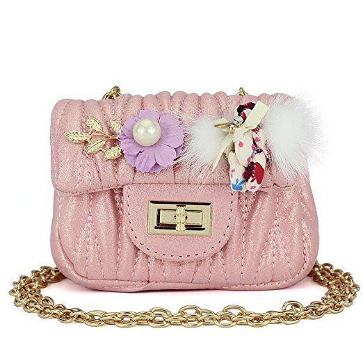 3559df0c64df Amazon.com  CMK Trendy Kids Quilted Shinning Glitter Kids Crossbody Handbags  for Girls with Metal Chain Novelty Gifts (13cm(L) x 6.5cm(W) x 9cm(H) mini  size ...