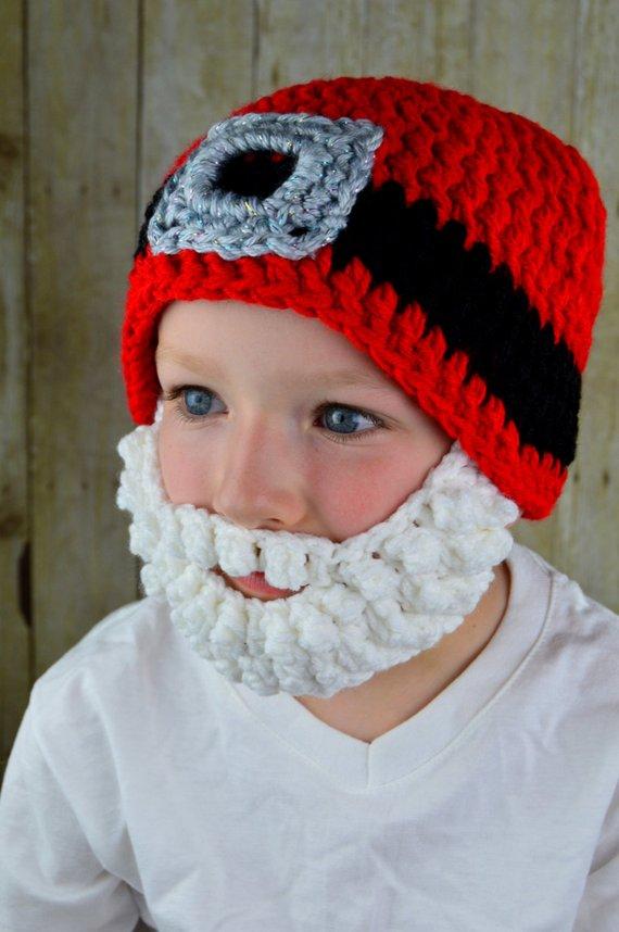 Santa Hat Santa Claus Beard Hat Christmas Gift Idea Bearded Beanie ... bfc27e5f315