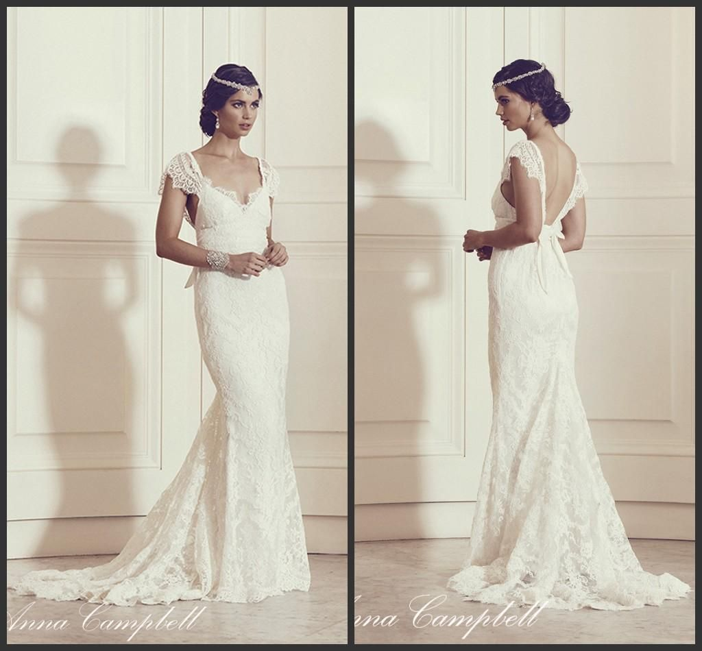 Anna campbell mermaid wedding dresses fit and flare lace v neck