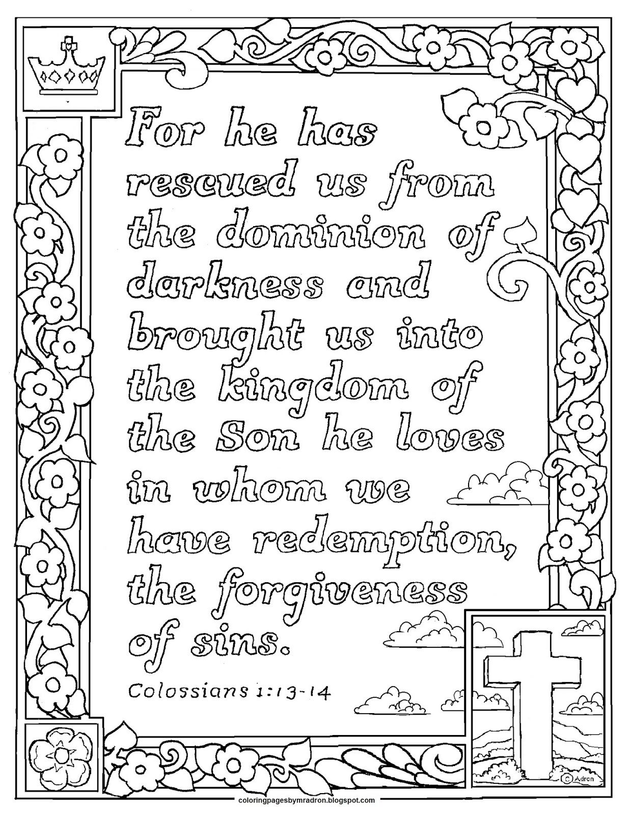 Colossians 1 13 14 Jpg 1 237 1 600 Pixels Bible Coloring Pages