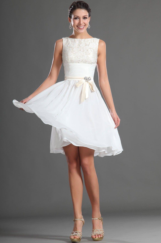 Knee length modest white chiffon lace short bridesmaid dress knee length modest white chiffon lace short bridesmaid dress ombrellifo Choice Image