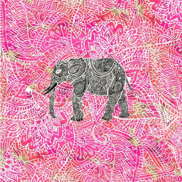 Pink Safari Tribal Paisley Elephant Henna Pattern Art Print Art