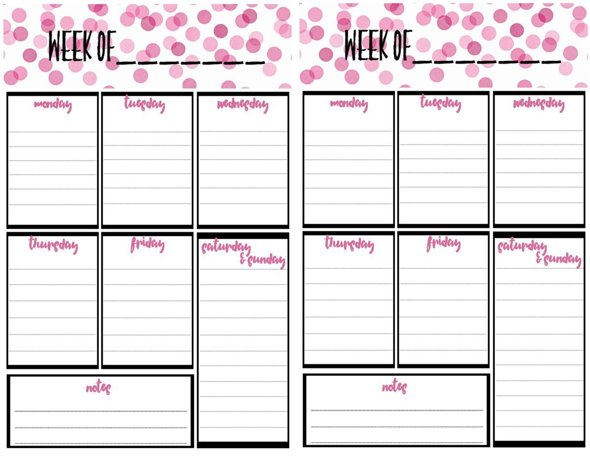Free Weekly Calendar Planner Printable Full And Half Size Single