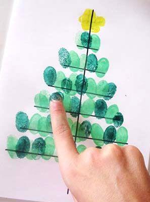 Dibujos De Arboles De Navidad Pintados.Actividad Realizada Con Dedos Pintados Para La Creacion De