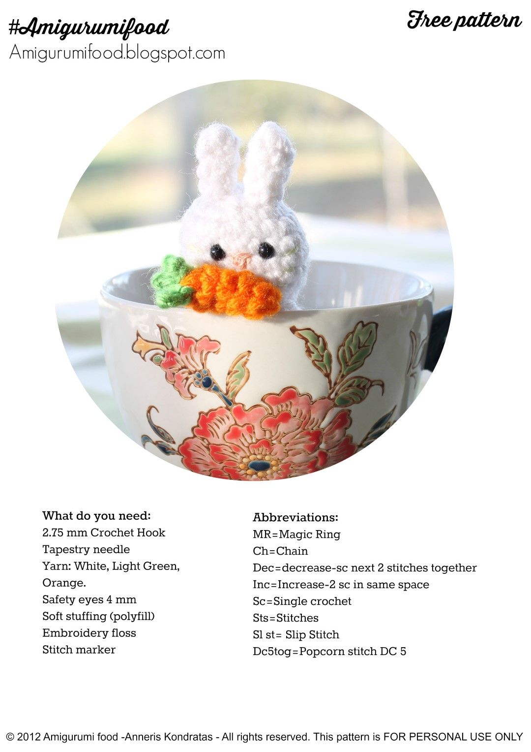 Little Easter Bunny by Amigurumi Food/ Free pattern!!!!! | Haken ...